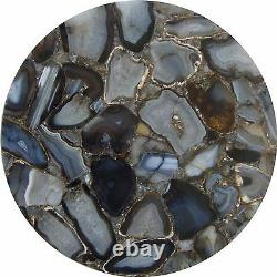 Handmade Semi precious coffee side Round Only table top Natural Agate stone