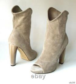 JIMMY CHOO grey 36 6 natural stone suede open-toe Maja ankle BOOTS new $1275