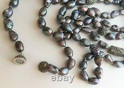 JUDITH JACK 925 Sterling Silver Marcasite Genuine Grey FW Pearl 64 Necklace