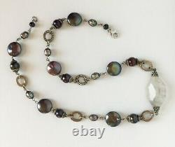 JUDITH JACK 925 Sterling Silver Marcasite Tahitian FW Pearl Grey Quartz Necklace