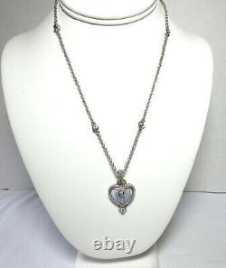 JUDITH RIPKA CZ Sterling Silver Gray Onyx Heart Pendant Enhancer Necklace 22.9 g