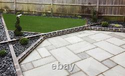 Kandla Grey Sandstone Natural Indian patio paving slabs Mixed sizes Calibrated
