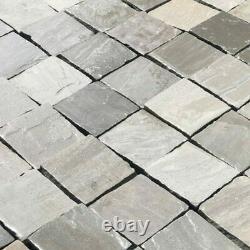 Kandla Grey sandstone paving patio Cobble setts 100mmx100mmx40/60mm