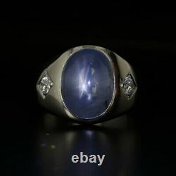Light Blue Gray Star Sapphire Diamond Ring 14k White Gold Size 7