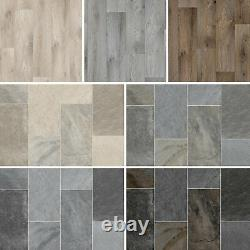 Lino Vinyl Flooring Realistic Natural Stone Tile & Wood Effect 2,3,4m Wide CHEAP