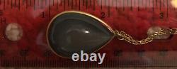 Lola Brooks 34-carat Grey Moonstone Teardrop Pendant Necklace