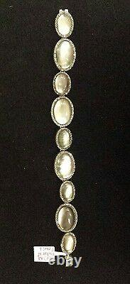 MARCASITE, Gray MOTHER-OF-PEARL & CLEAR QUARTZ Sterling Silver Bracelet STUNNING