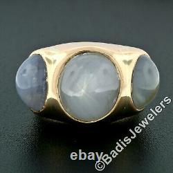 Men's Vintage Bold 14k Rose Gold 34.25ctw Bezel Oval Star Sapphire 3 Stone Ring