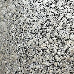 Modern Charcoal Silver Gray Big Chip Stone Natural Mica Wallpaper Plain Textured