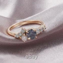 Montana Sapphire Cluster Ring 14K Solid Rose Gold Handcrafted