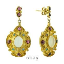 Mughal Moonstone, Garnet and Opal Earrings Museum of Jewelry
