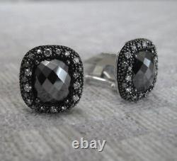 NEW DAVID YURMAN MIDNIGHT MELANGE EARRINGS WITH HEMATITE & DIAMONDS retail $1850
