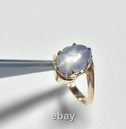 Natural Bluish Gray Star Sapphire 14kt Rose Gold Hand Made Antique Ring