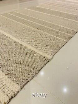Natural Cream Stone Grey Striped Recycled Cotton Rich Jute Washable Rugs Runner