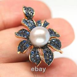 Natural Heated Blue Sapphire & Gray Pearl Flower Ring 925 Sterling Silver