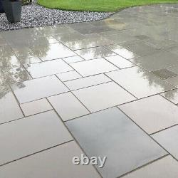 Natural Smooth Silver Grey Sandstone Honed Exterior Paving Slabs Patio Flags New