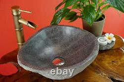 Natural Stone Wash Basin To 55 CM Round Gray Large Stone Sink Bathroom New