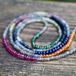 Natural Tourmaline Sapphire Black Opal Wrap Bracelet Long Necklace White Gold