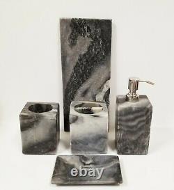 New 5 Pcs Gray Natural Marble Stone Soap Dispenser, Dish, Tumbler, Tray, Toothbrush
