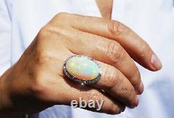 Opal Ring White Gold Diamond Natural 14K GIA Certified 22.57CTW RETAIL $16,600