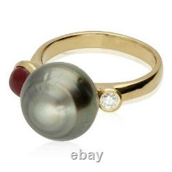 Pre-owned 18ct Rose Gold Tahitian Pearl, Ruby & Diamond 3 Stone Ring