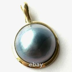 Q13510, New 14k Solid Yellow Gold Y/G Black Mabe Pearl Pendant