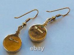Quality Pair of Handmade 9ct Yellow Gold Dark Mother of Pearl Drop Earrings