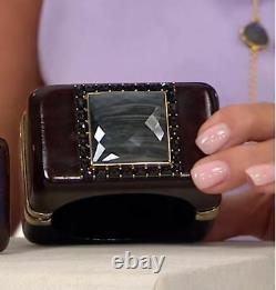 Rarities Carol Brodie Dark Gray Cat's Eye & Black Spinel Wooden Bracelet NWT