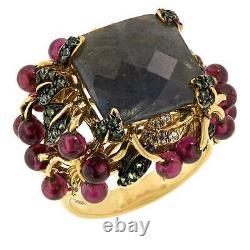 Rarities Gold-Plated Sterling Silver Multigem Floral Garden Ring, Sz 7 $300