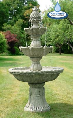 Regal 3-Tier Cast Stone Water Feature Fountain H150cm by Ambiente