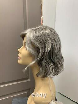 Rene of Paris ADELINE Lace Front Part Wavy Short Bob Wig, Silver Stone, Grey