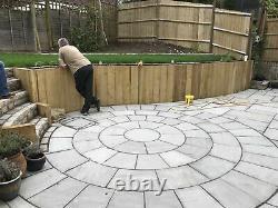 Sandstone paving patio Indian natural slabs flags kandla grey 2.4M circle kit