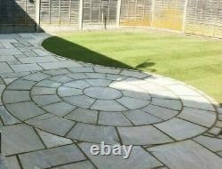 Sandstone paving patio Indian natural slabs flags kandla grey 4M circle kit