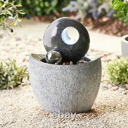 Serenity Garden 53cm Stone-Effect Water Feature LED Outdoor Fountain Decor New