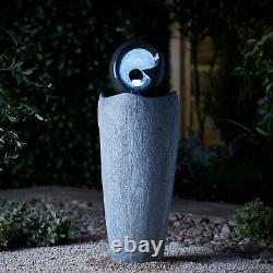 Serenity Garden 88cm Stone-Effect Water Feature LED Outdoor Fountain Decor NEW