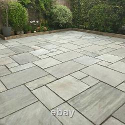 Silver Grey Sandstone Natural Paving Slabs Tumbled Patio Stone Flooring 15.25 m2