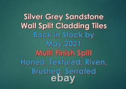 Silver Grey Sandstone Split Face Stone Wall Cladding Mosaic Tiles 3D Effects New