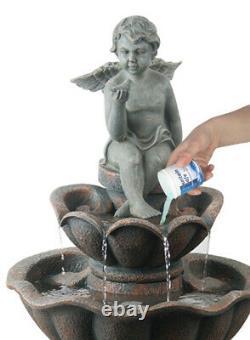 Solar Powered Cherub Birdbath Outdoor Fountain Water Feature Stone Effect
