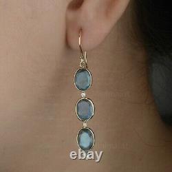 Solid 14K Yellow Gold Triple Oval Cut Labradorite Diamond Drop Hook Earrings