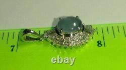 Solid platinum natural gray star sapphire and diamond pendant 2.87 grams