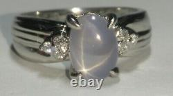 Solid platinum natural gray star sapphire diamond ring 4.13 grams sz 5.75