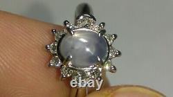 Solid platinum natural gray star sapphire diamond ring 5.27 grams sz 7.25