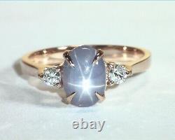 Star Sapphire Natural Genuine Gemstone Diamond Rose Gold Lady's Ring RFK, 387