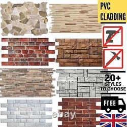 Stone Brick Effect PVC Plastic Wall Covering Panels Decorative Cladding Tiles
