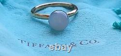 Tiffany & Co 18k Rose Gold Hard Wear Grey Moonstone 8mm Bead Ring 6