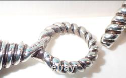 Tiffany & Co. Hematite Beads Torsade Necklace Sterling Silver Toggle Clasp RARE