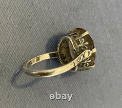 VINTAGE Sterling Silver, Ladies Crown Fleur De Lis Ring, gray Amethyst Paris
