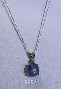 VTG 14K White Gold And 100% Natural Blue Star Sapphire Pendant Necklace 16 Inch