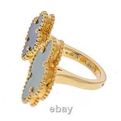 Van Cleef & Arpels 18K Yellow Gold Grey Mother of Pearl Black Onyx Alhambra Ring