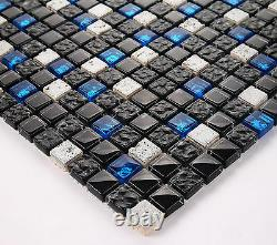Very Pretty 30x30cm Mosaic Tile Black Blue Grey Natural Stone Glaselemente BO-7